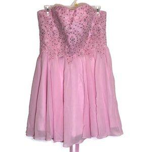 Izidress Pink Sweetheart Neckline Mini Prom Dress